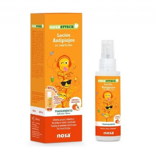 Nosa attack locion 5% dimeticona - antipiojos (100 ml aroma melocoton)