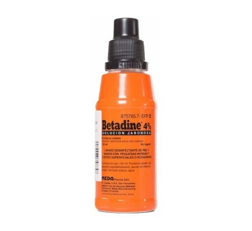 BETADINE JABONOSO 40 MG/ML SOLUCION CUTANEA , 1 frasco de 125 ml
