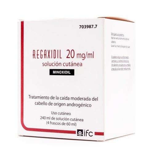 REGAXIDIL 20 mg/ml SOLUCION CUTANEA , 240 ml (4 frascos de 60 ml)