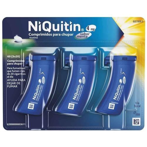NIQUITIN 4 mg COMPRIMIDOS PARA CHUPAR SABOR MENTA, 60 comprimidos