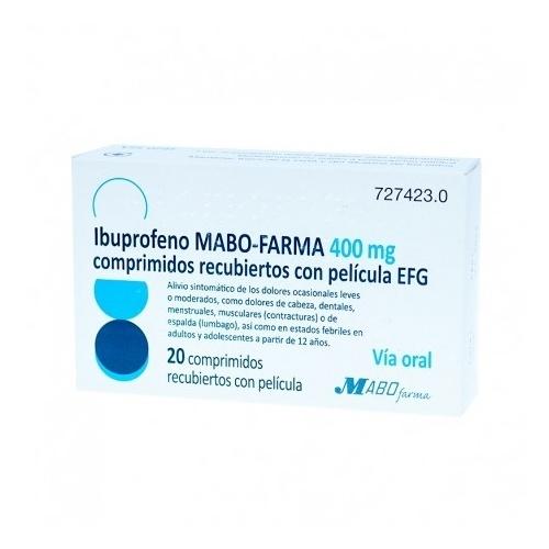 IBUPROFENO MABO-FARMA 400 MG COMPRIMIDOS RECUBIERTOS CON PELICULA EFG,20 comprimidos (PVC/PVDC/AL)